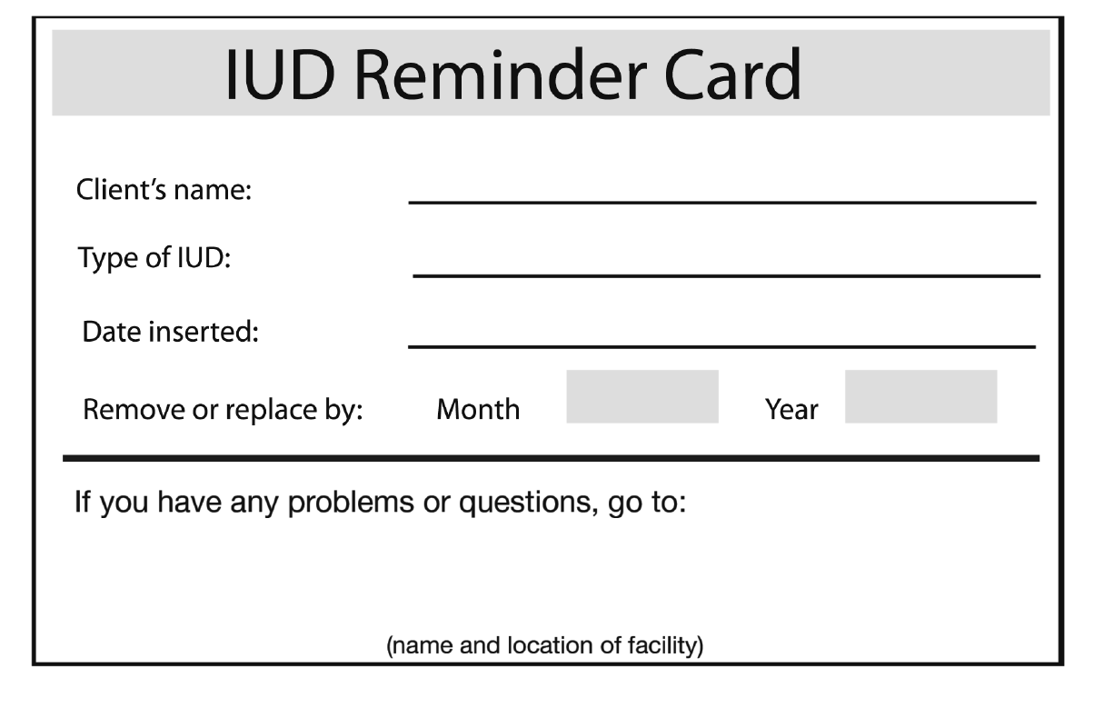 IUD reminder card